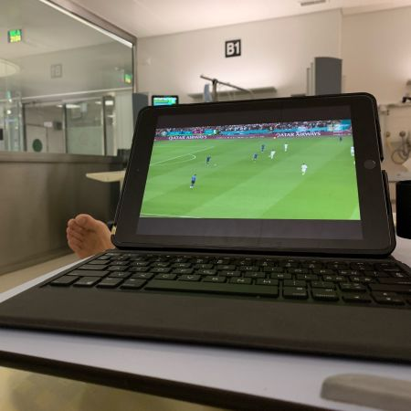 me watching the Euro final from my bed at hospital