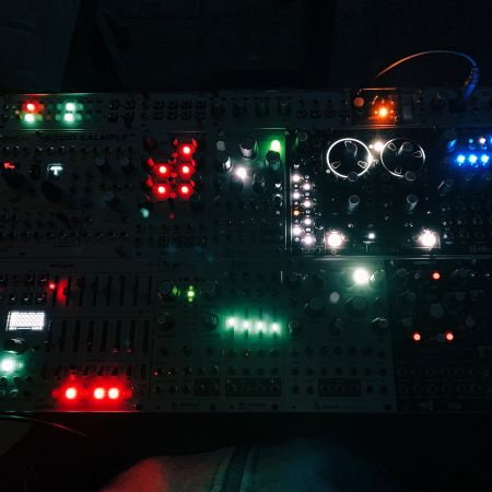 A modular system in the night. Only the LEDs are visible