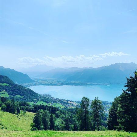 Vue depuis les environ de Lally en direction du Chablais. Au premier plan des paturages. En contre bas, le lac Léman puis le Chablais et les alpes