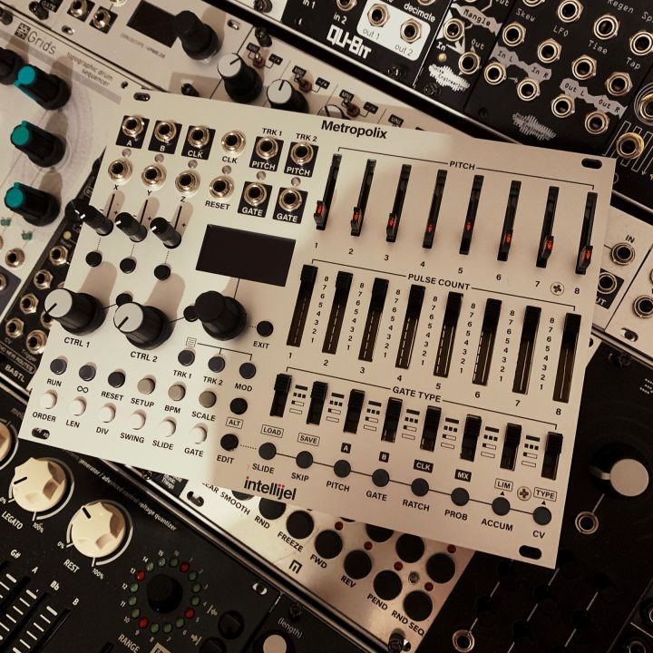 Metropolix sequencer sitting on top of other eurorack modules