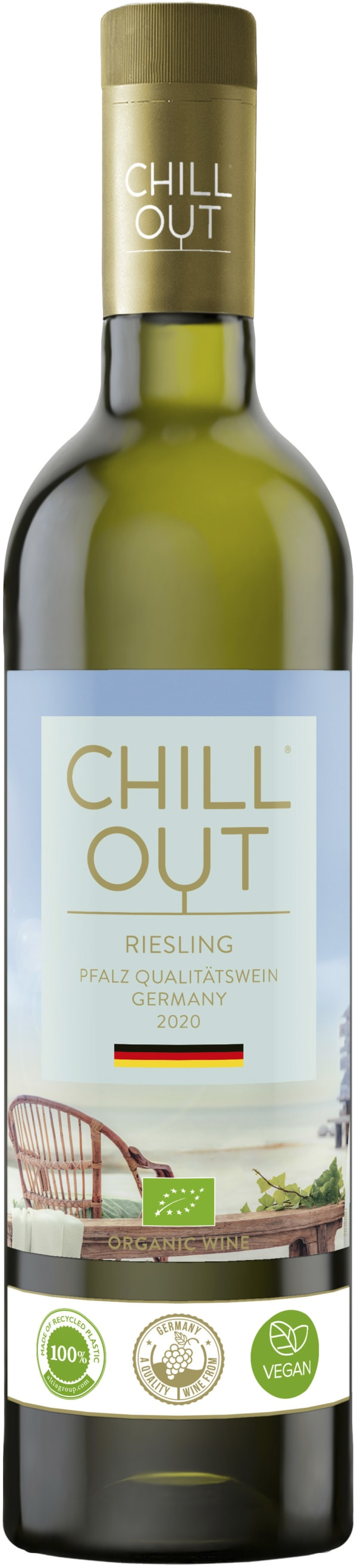 Chill Out Crisp & Fruity Riesling Organic 2015 muovipullo