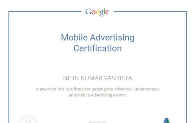Mobile Adv. Certification from Google