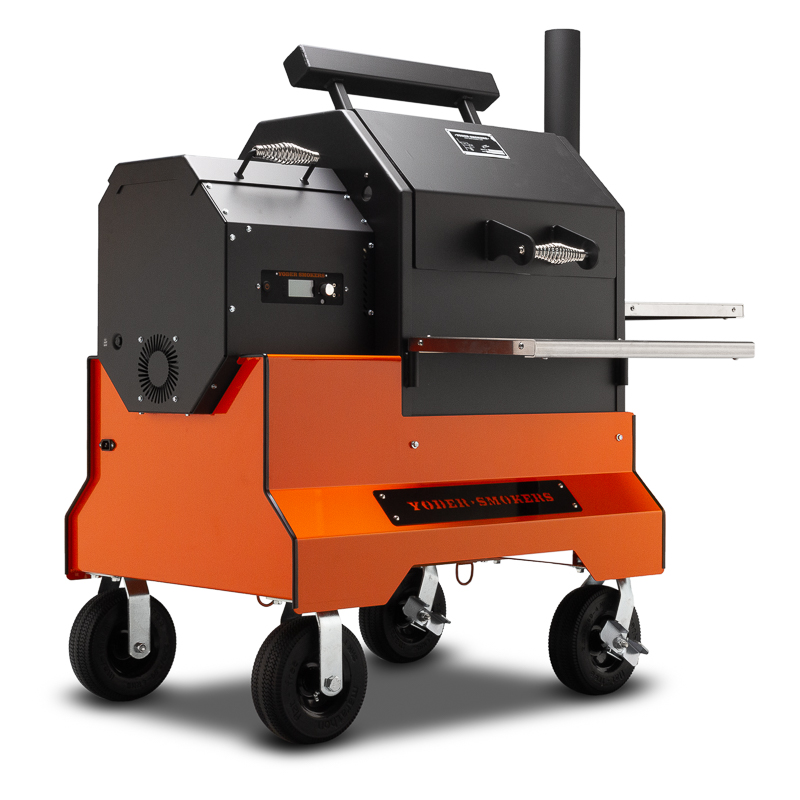 Yoder Smokers YS480s Pellet Grills with ACS on Competition Cart