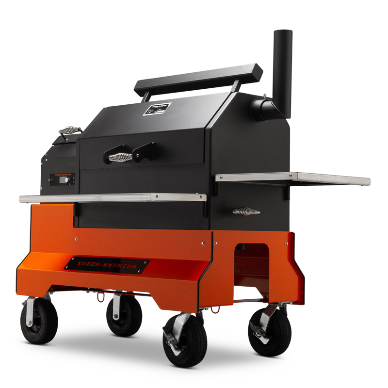 Yoder Smokers YS640s Pellet Grills with ACS on Competition Cart
