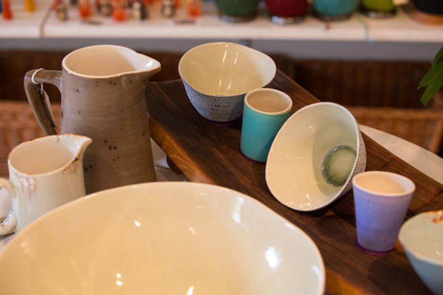 Selection of handmade bowls, cups and jugs