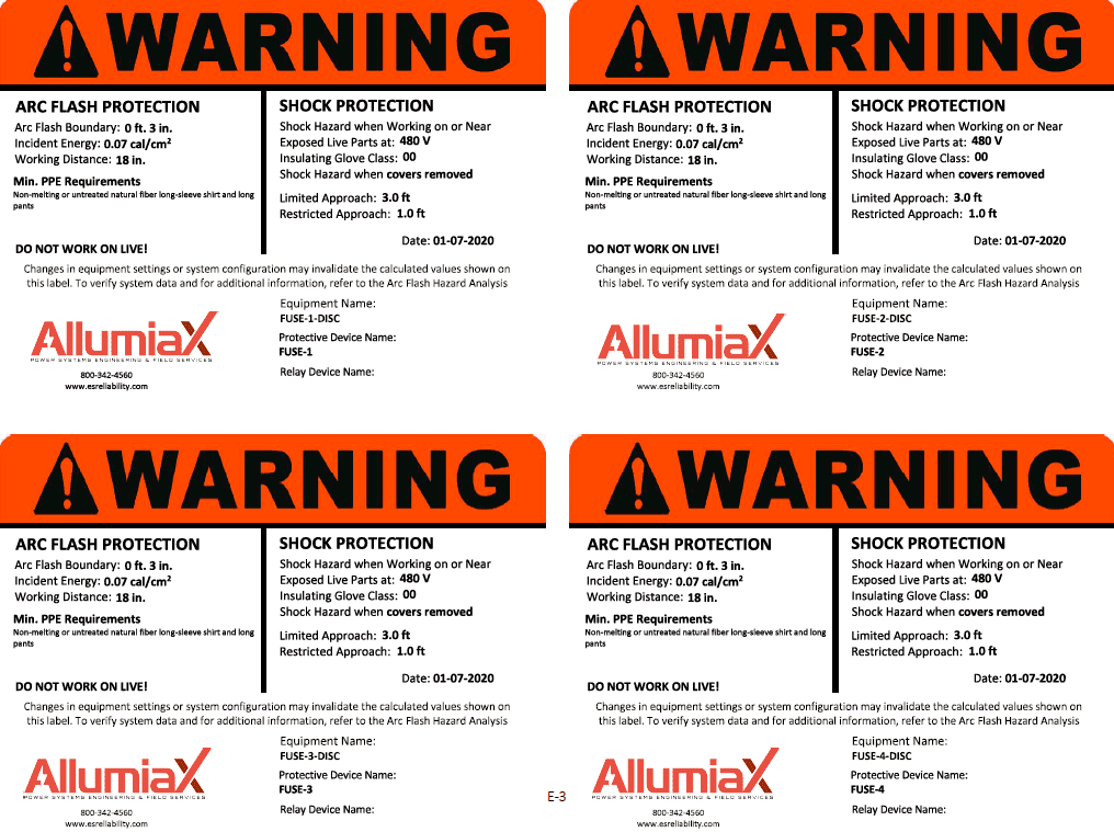 Arc Flash Warning Labels