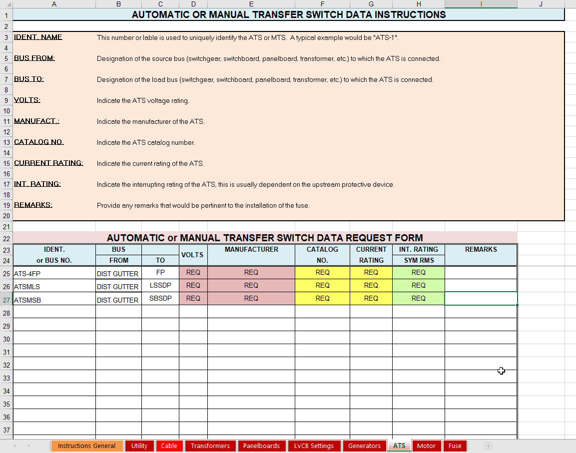 Automatic Or Manual Transfer Switch Data Instructions