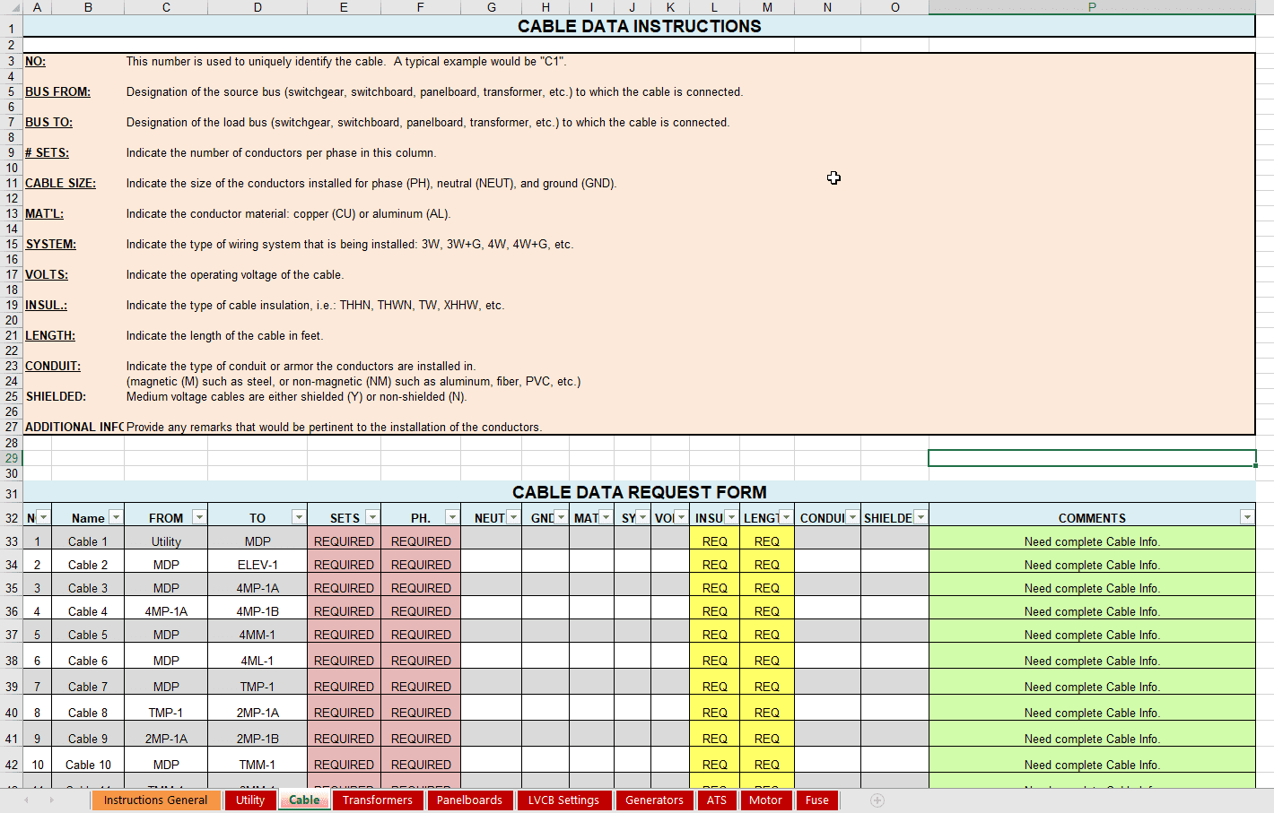Cable Data Instructions