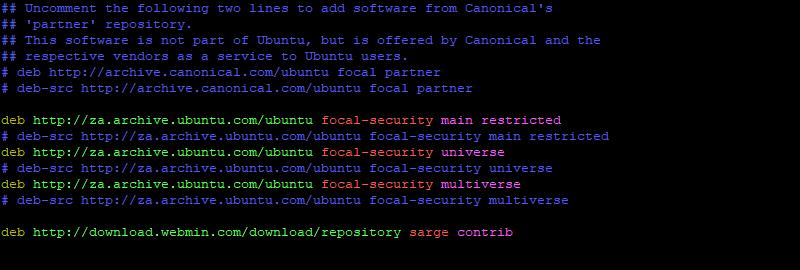 Add webmin repository ubuntu 20.04