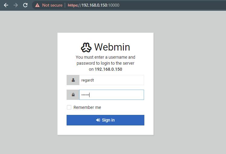 Webmin Login Screen