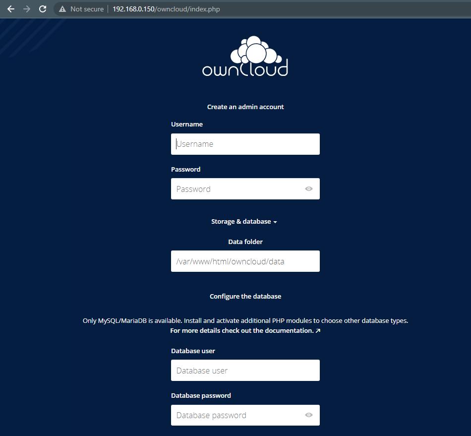 Owncloud Server Setup Screen