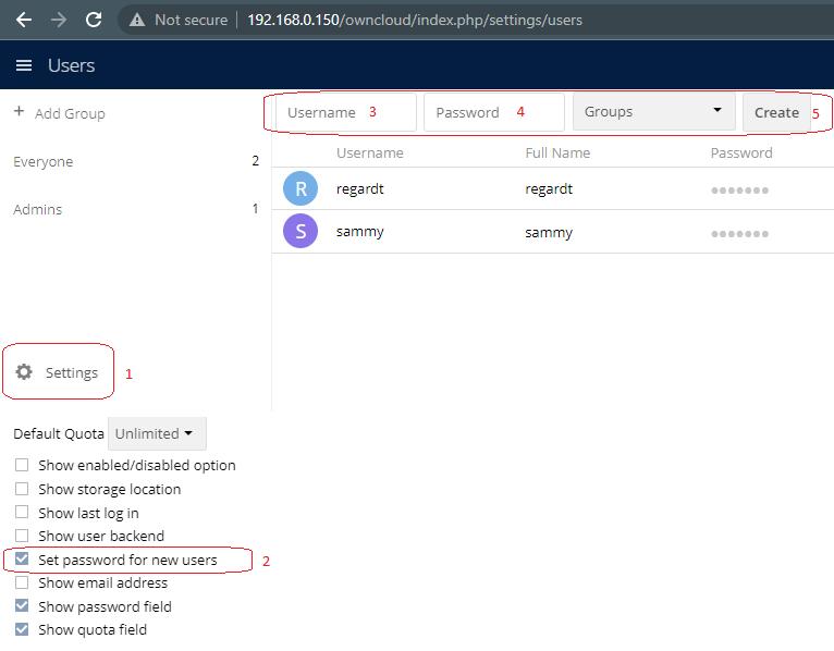 Create User Owncloud