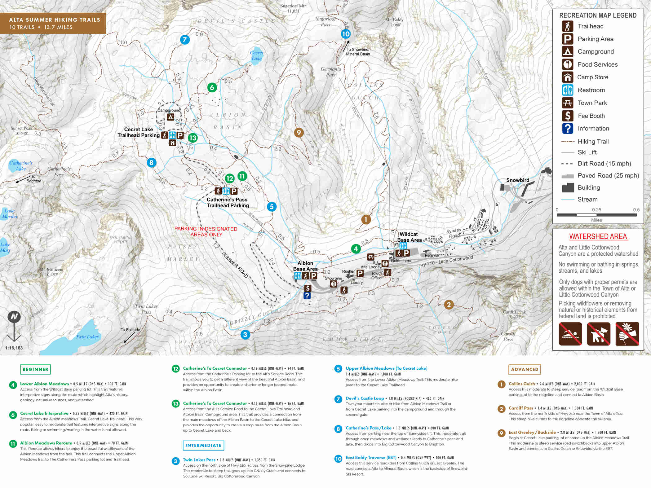 Alta Summer Trail Map - August 2021
