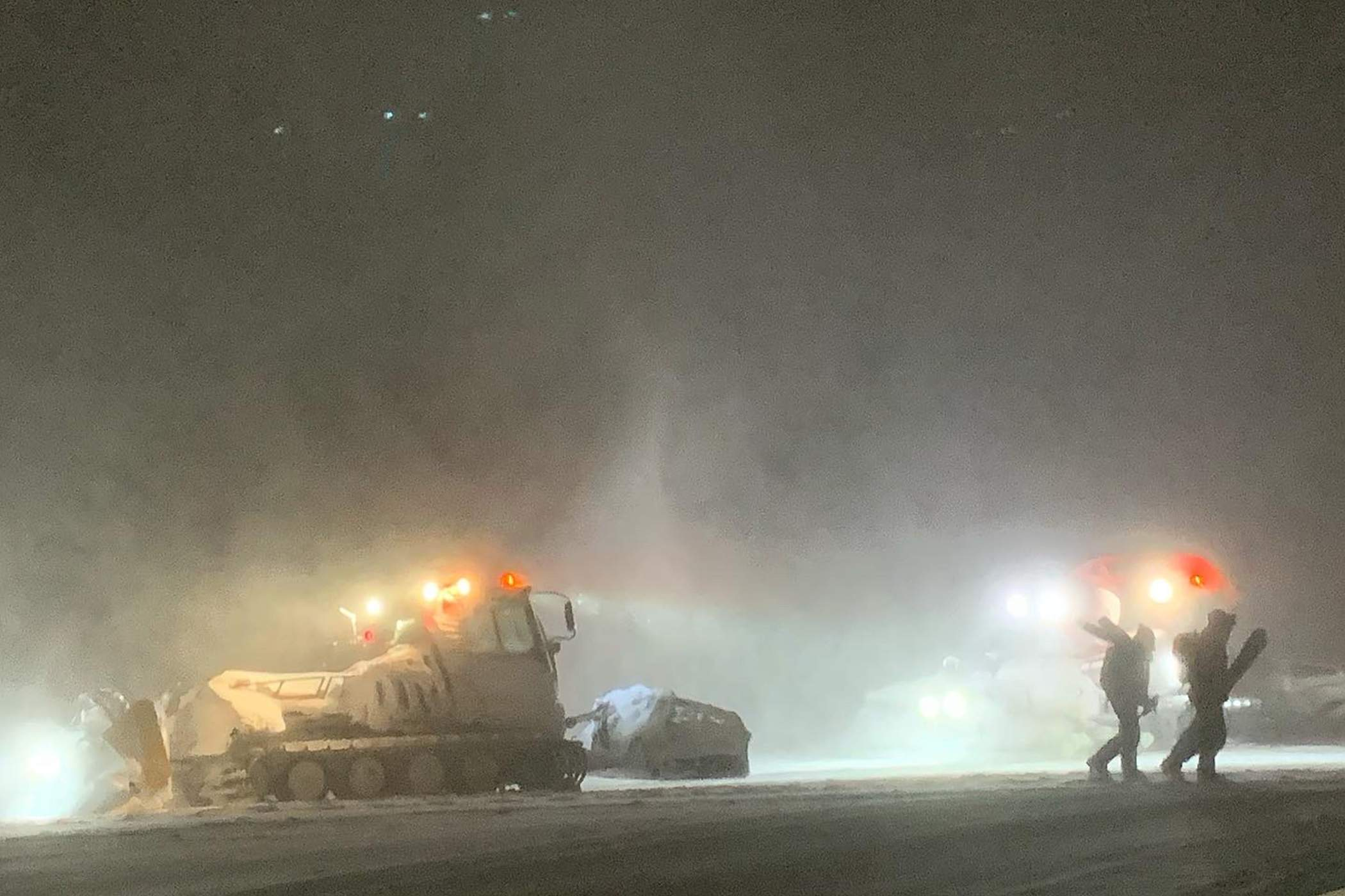 Patrollers head to work in the storm