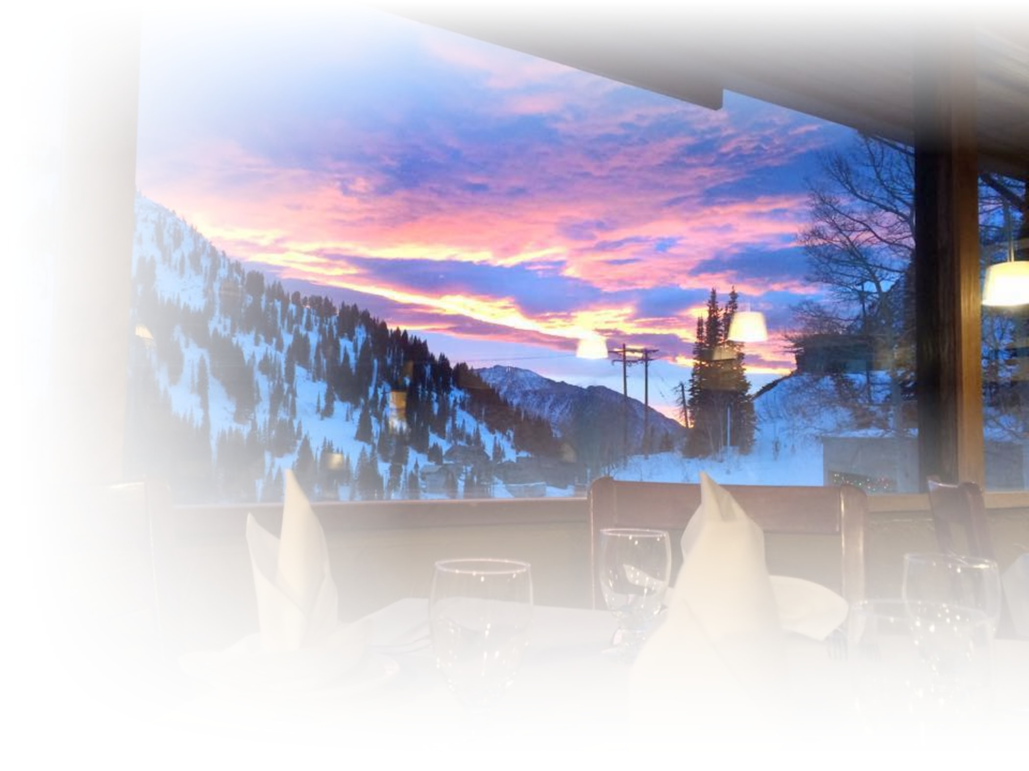 A view of the sunset from the Shallow Shaft restaurant in Alta Utah