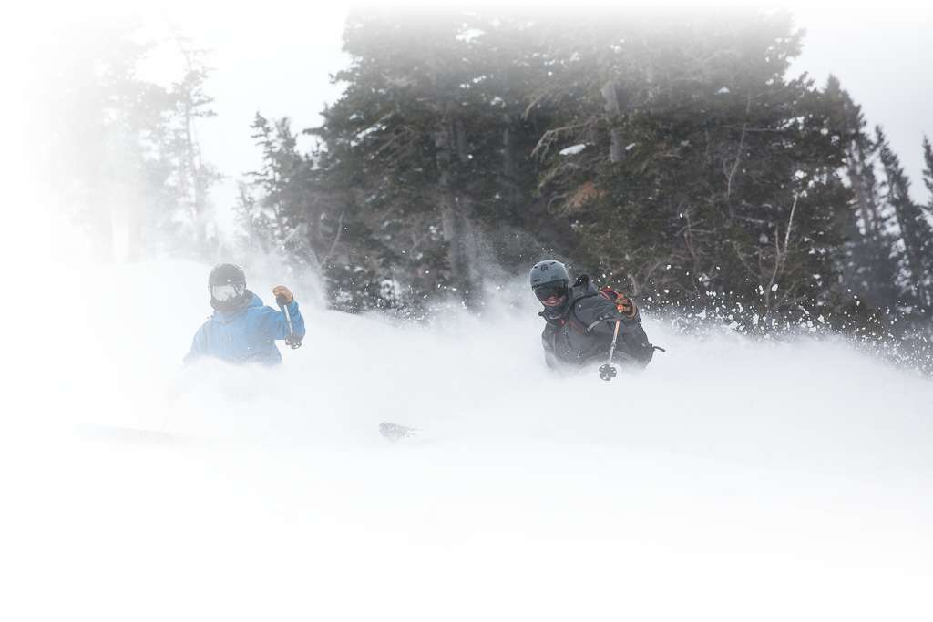 Two telemark skiers make synchronized turns on a stormy day at Alta ski area