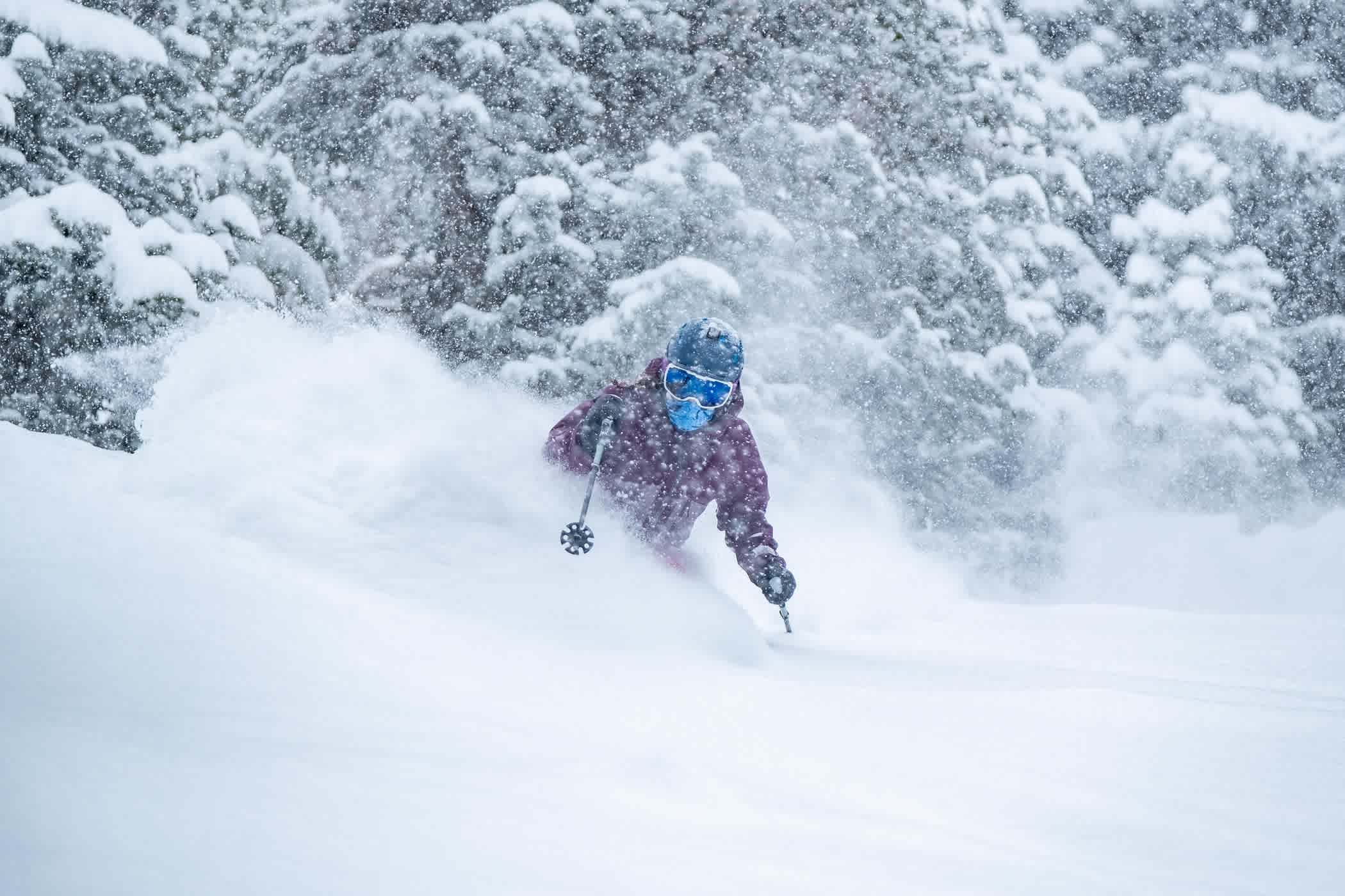 Megan McJames enjoys some storm skiing   Photo: Iz La Motte