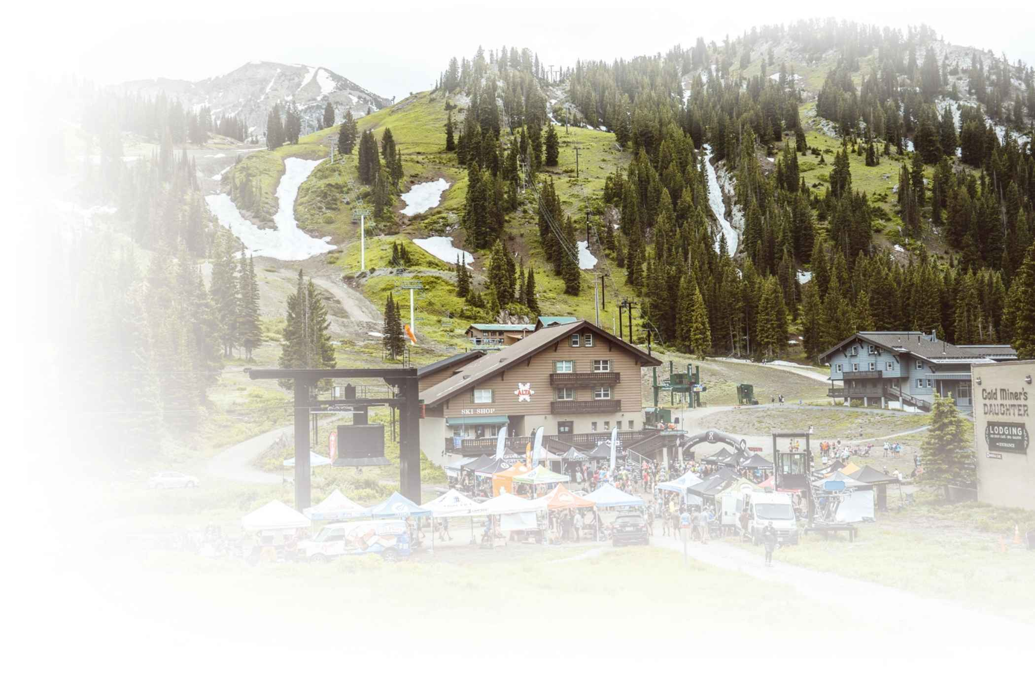 Cirque Series vendor village on a summer day at Alta Ski Area