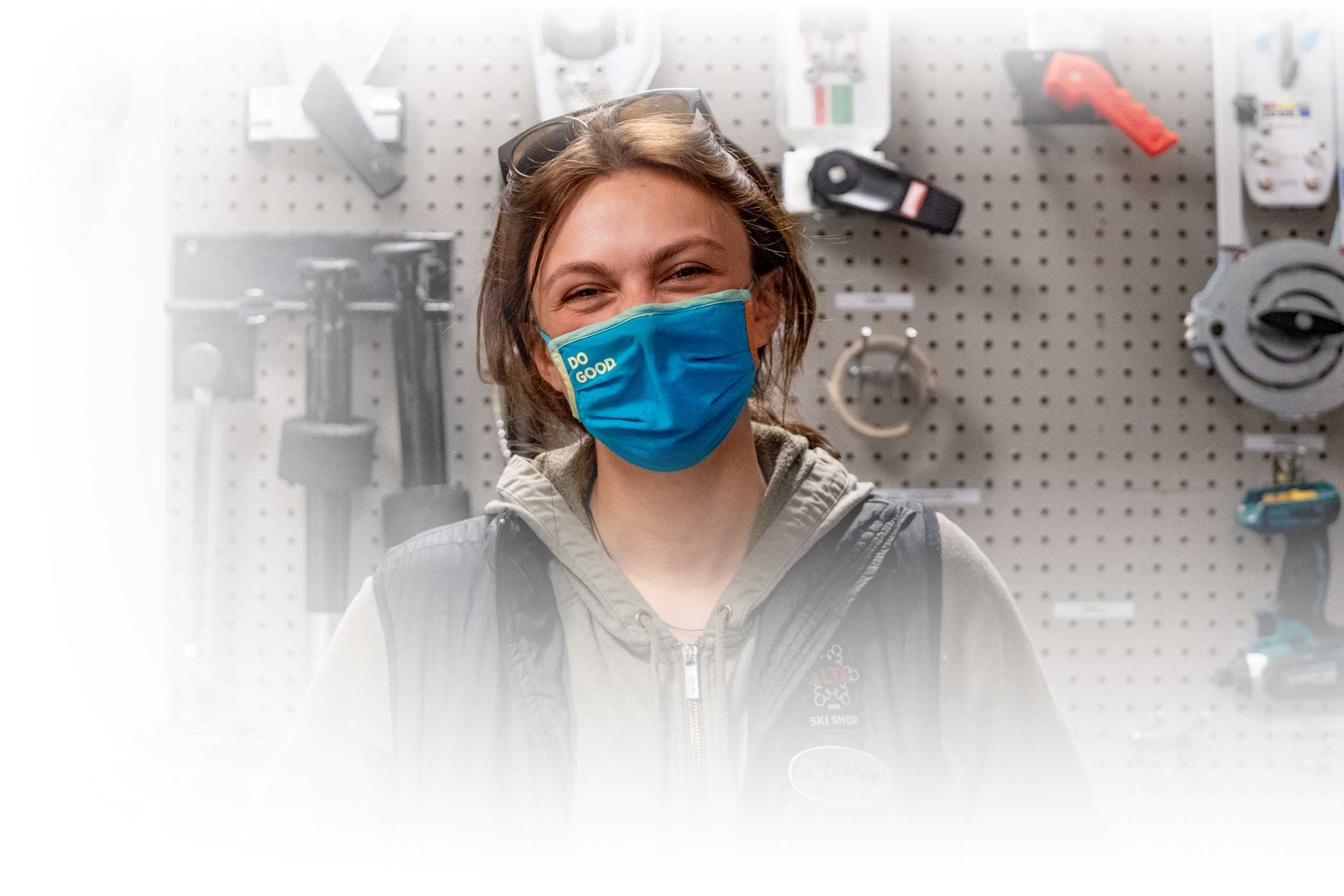 An Alta employee in the Alta Ski Shop