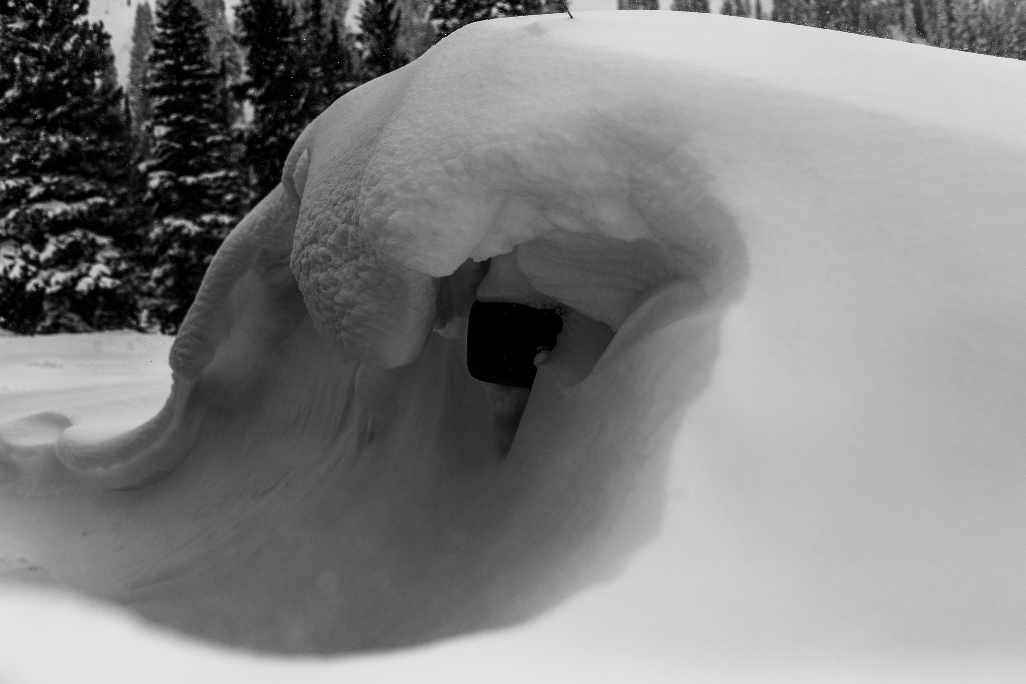 A buried vehicle in the Wildcat parking lot   Photo: Rocko Menzyk