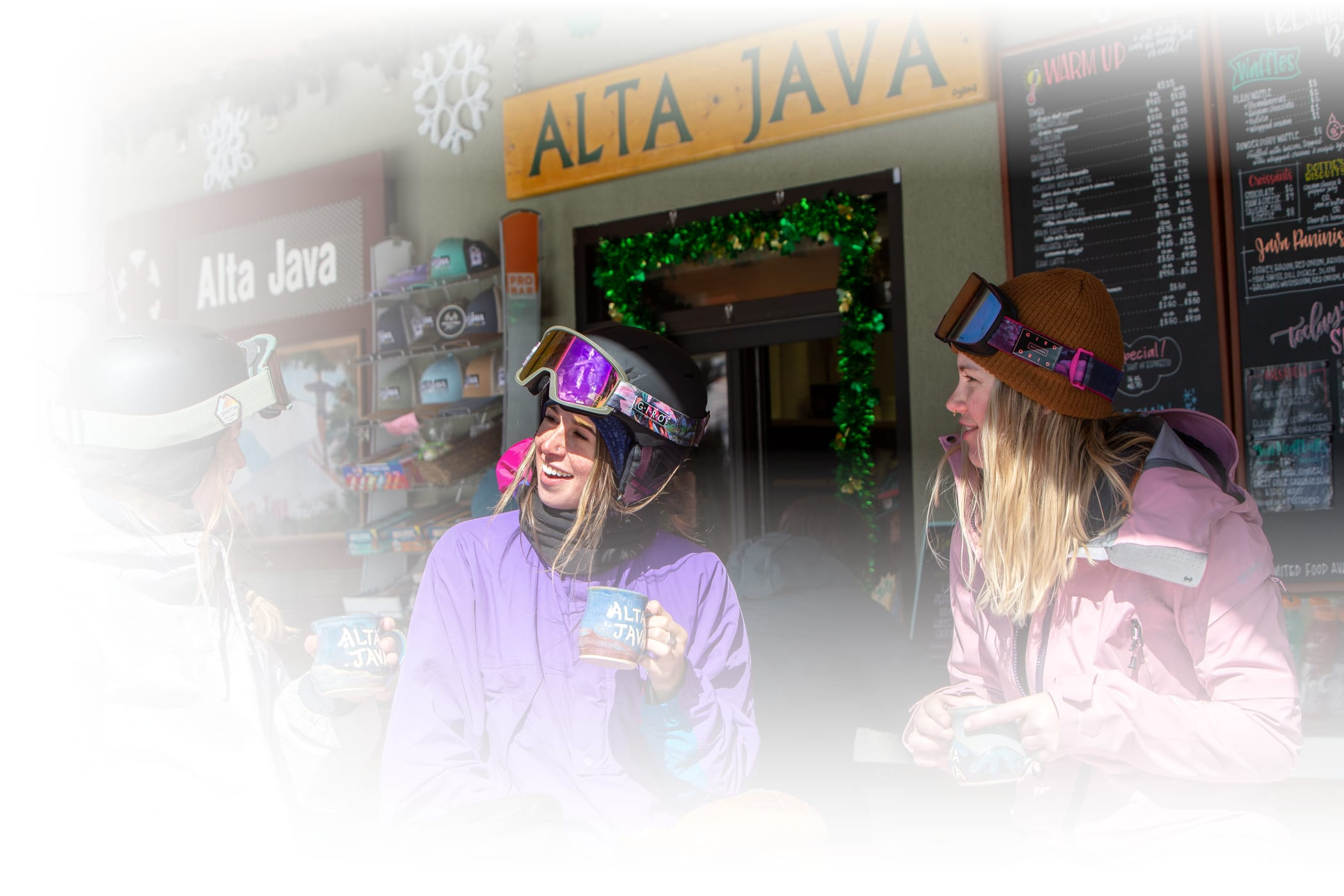 woman smiling in the Alta Java window