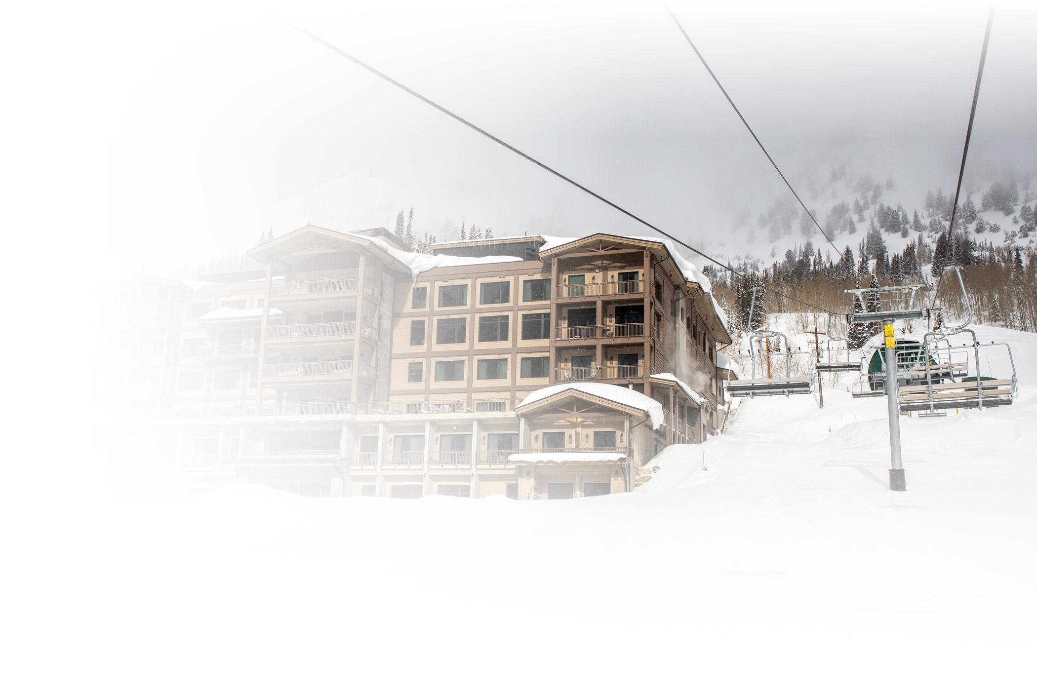 The newly rebuilt Snowpine Lodge and the new Snowpine lift