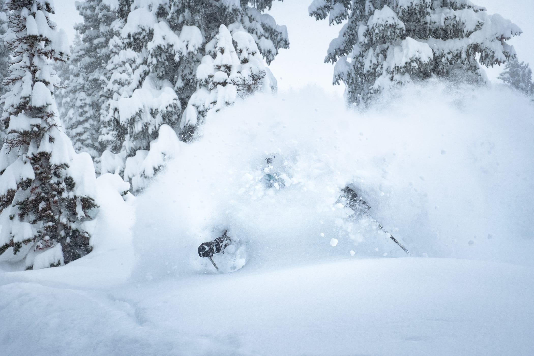 Skier skiing deep fresh powder snow