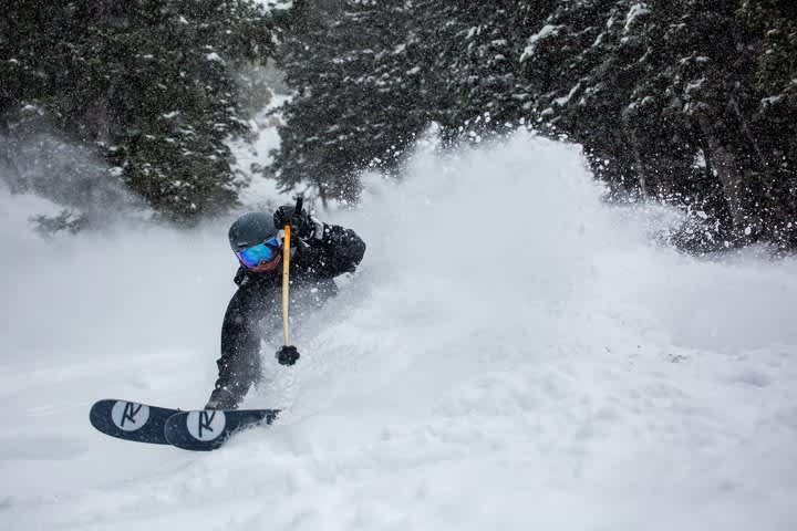 Brandon Ott slashes the first foot of new snow from the storm cycle.