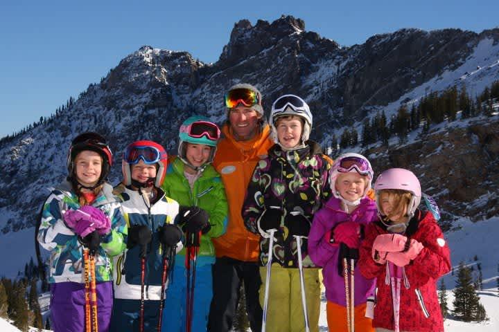 Ski School group lesson portrait in the sun
