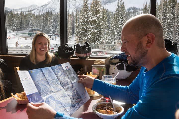 Skiers enjoying lunch at Alf's Restaurant