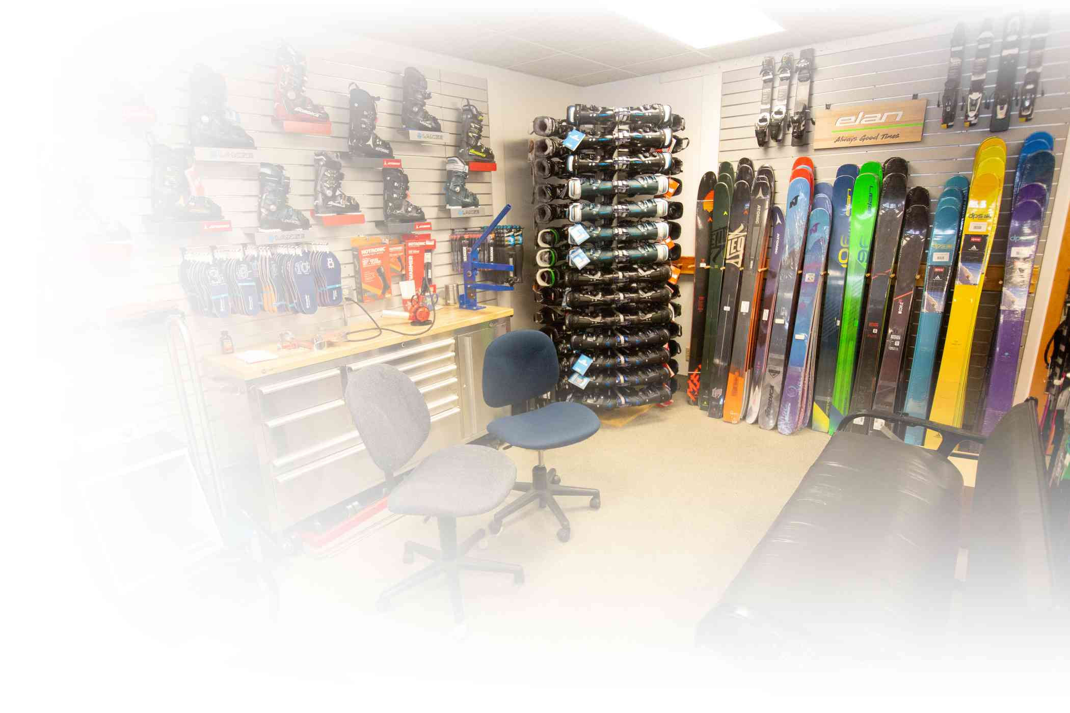 Boot fitting station and ski tuning center at Alta's Ski Shop