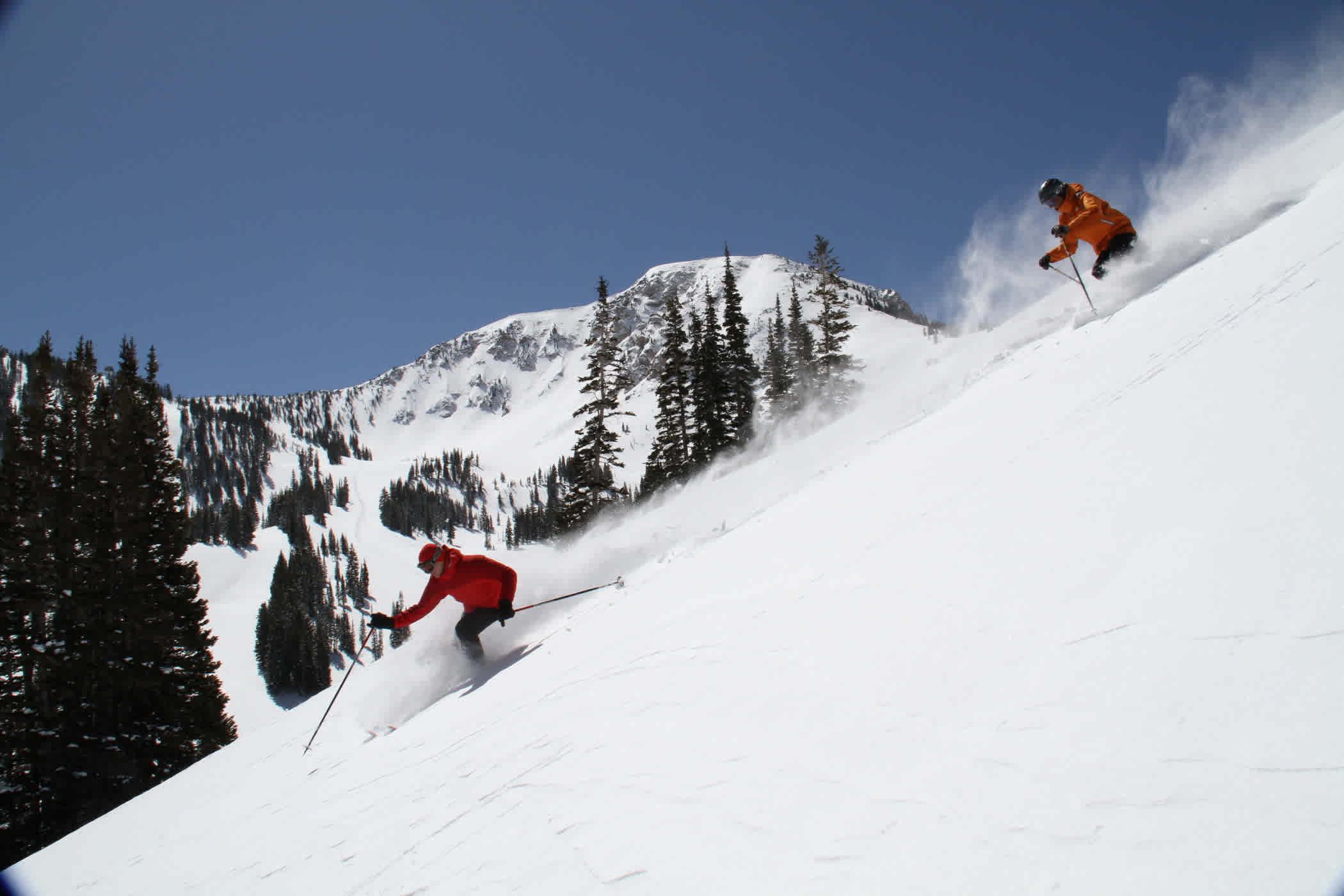 Two skiers enjoying a bluebird powder day