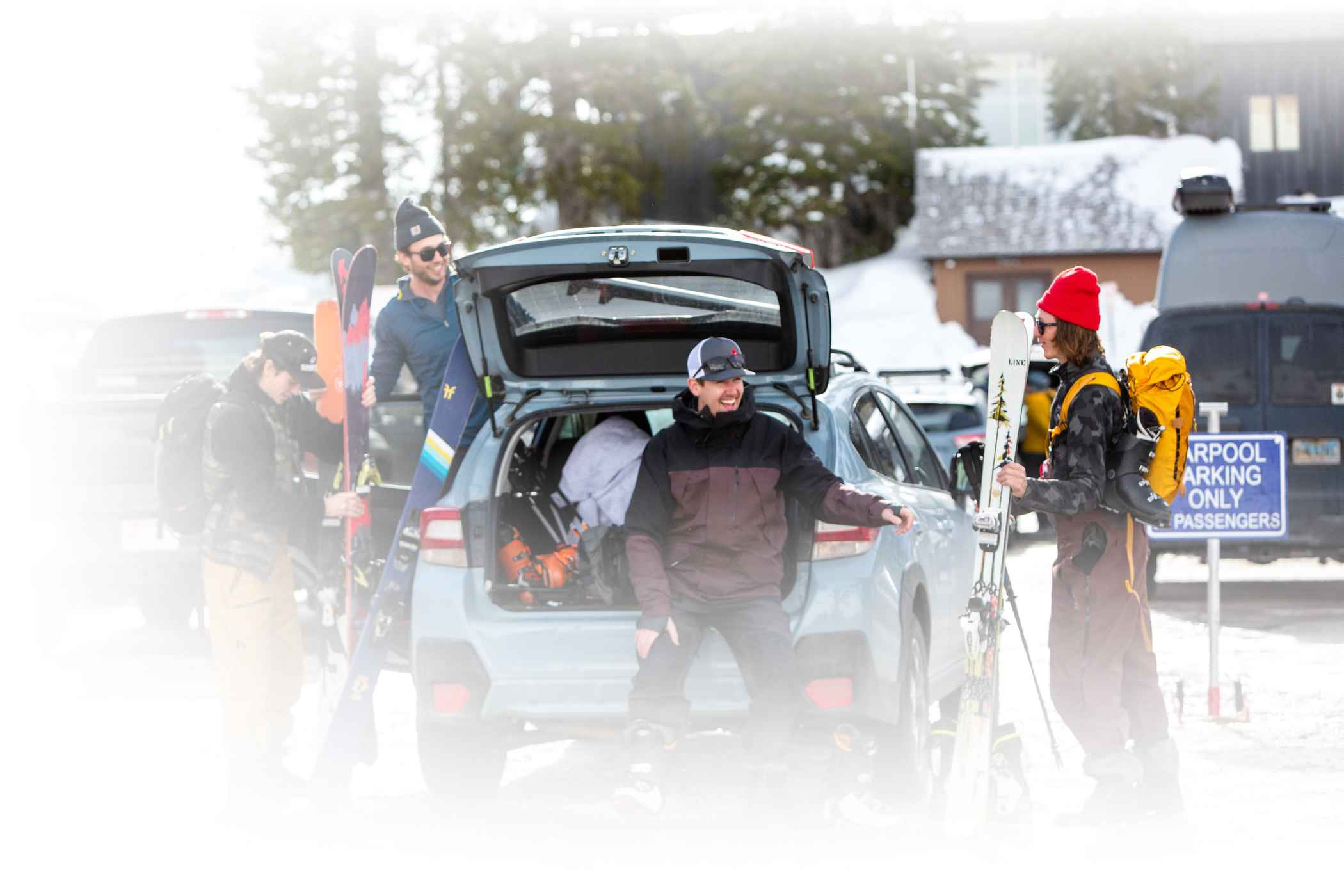 skiers enjoy prime carpool parking with the help of a new ride sharing app
