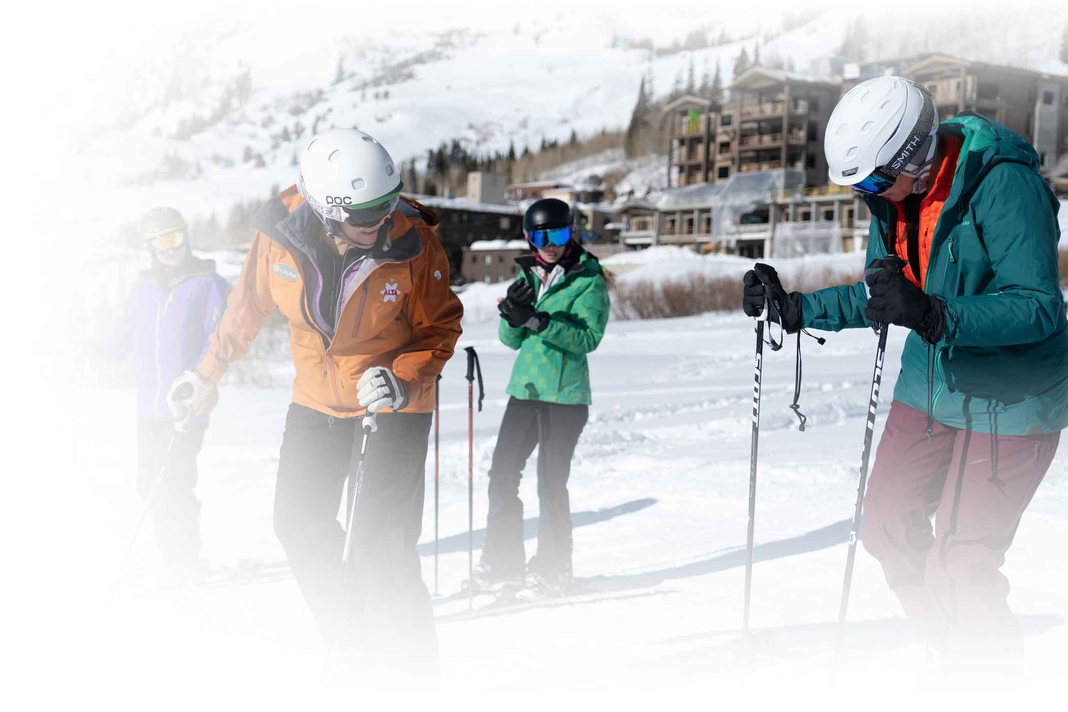 Alta ski instructor instructs a group of beginner skiers at Alta Ski Area