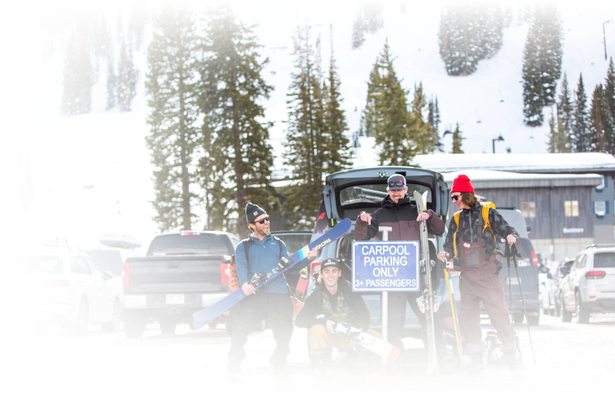 Skiers celebrate landing a great parking spot for carpooling to Alta