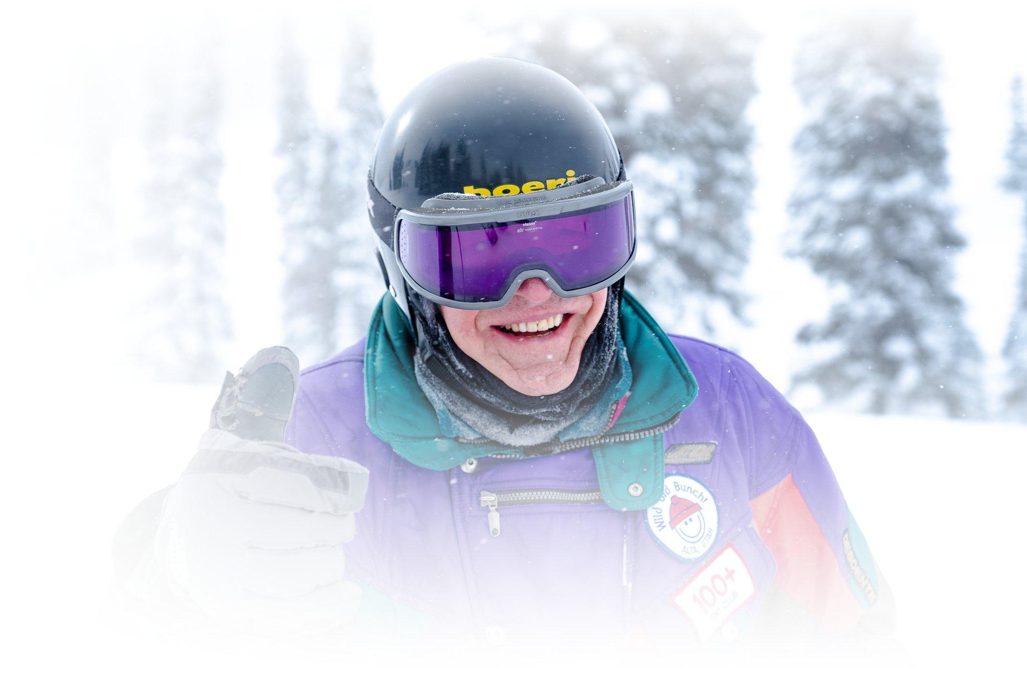 102-year-old Geroge Jedenoff skis Alta on a powder day