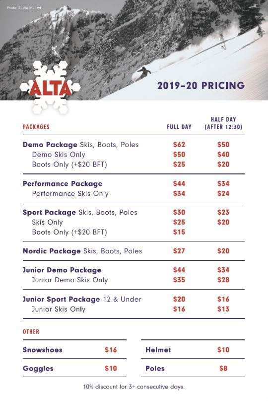 Alta Ski Shop 2019-20 Ski Rental Pricing Sheet