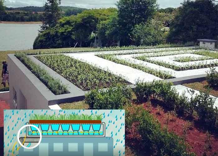 Áreas verdes e captação da água da chuva