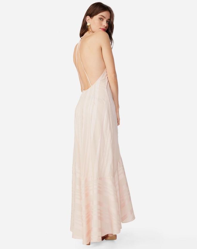 Vestido longo casual com decote nas costas