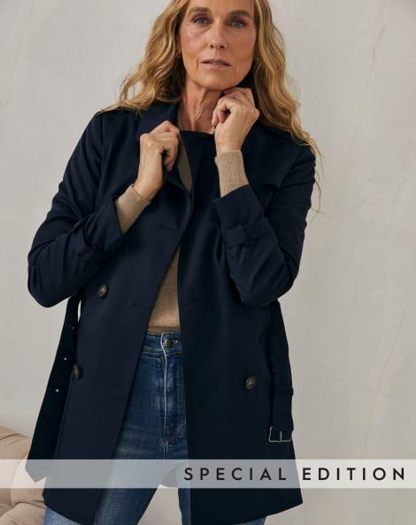 Amaro Feminino Trench Coat London Breeze, Azul