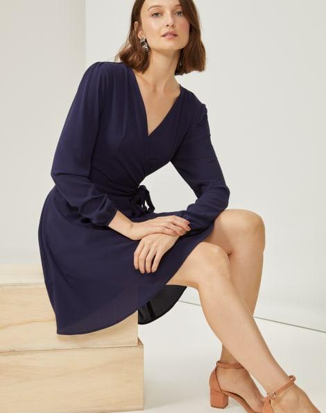 Amaro Feminino Vestido Transpasse Essential, Azul