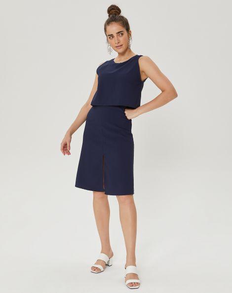 Amaro Feminino Vestido Chic Essential, Azul