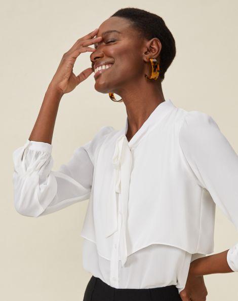 Amaro Feminino Camisa Layer Essential, Branco