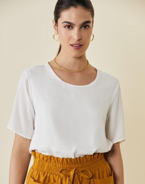 Amaro Feminino Camiseta Chiffon Essential, Branco