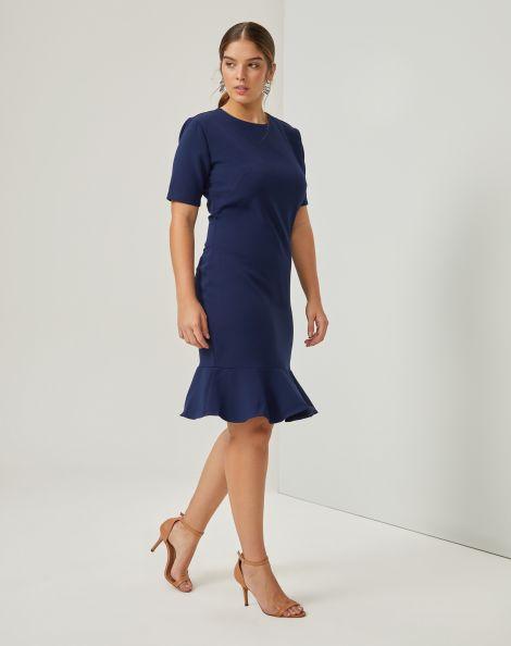 Amaro Feminino Vestido Peplum Essential, Azul