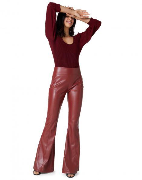 Amaro Feminino Calça Flare Maxi Leather, Marrom