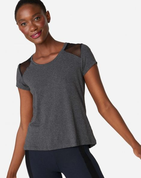 Amaro Feminino T-Shirt Mesh Shoulder, Cinza