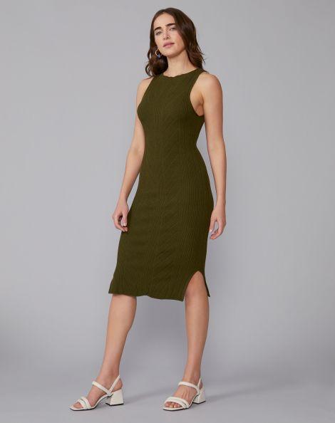 Amaro Feminino Vestido Tricot Chevron, Verde