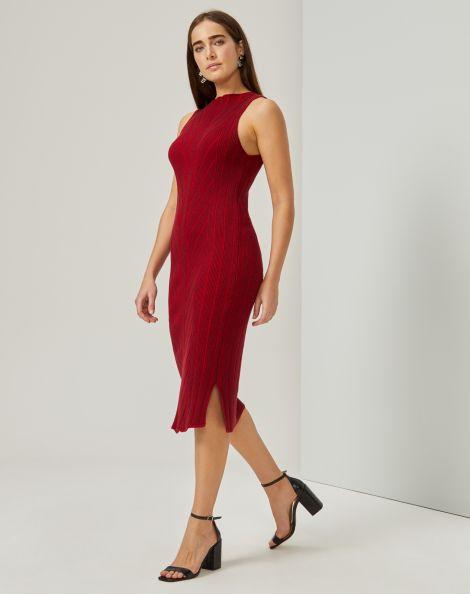 Amaro Feminino Vestido Tricot Chevron, Vermelho