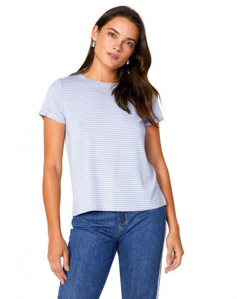 Amaro Feminino Camiseta Listrada Viscolycra, Azul